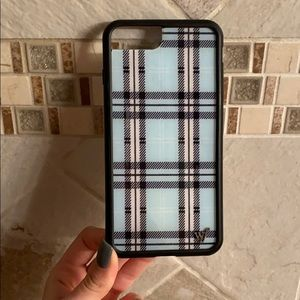 Blue plaid Wildflower iPhone 6/7/8+ case